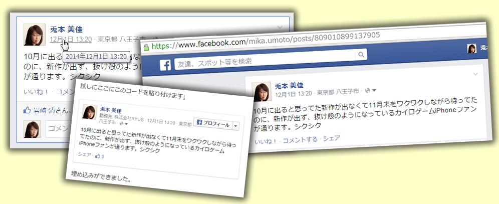 Facebookである投稿だけを表示する/blogなどに埋め込む方法