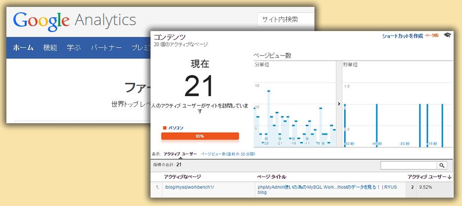 GoogleAnalyticsでリアルタイムのWebサイト訪問者を確認する