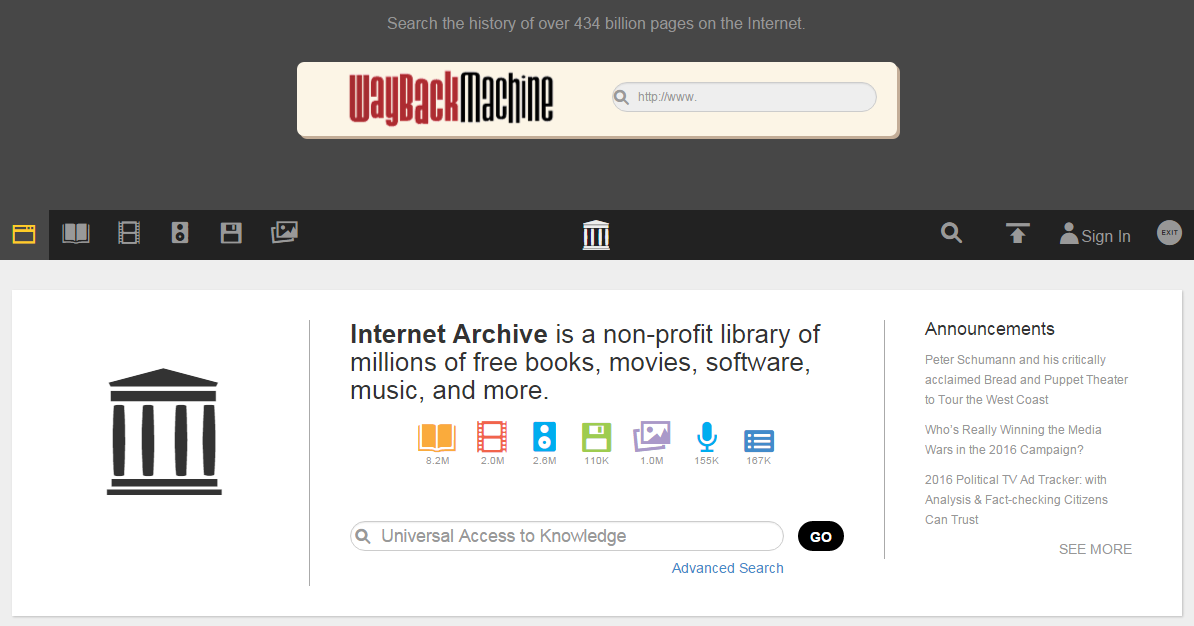 昔のインターネットのWebサイトを閲覧できるInternet Archive