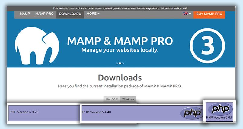 MAMP PRO Windows版はPHPのバージョンが異なるサイトを同時に確認できます
