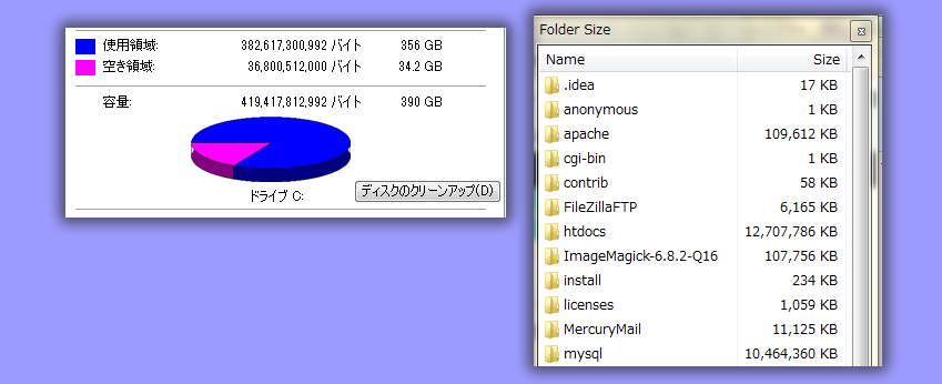 Cドライブがいっぱいに!容量の多いフォルダーを知るには Folder Size が便利
