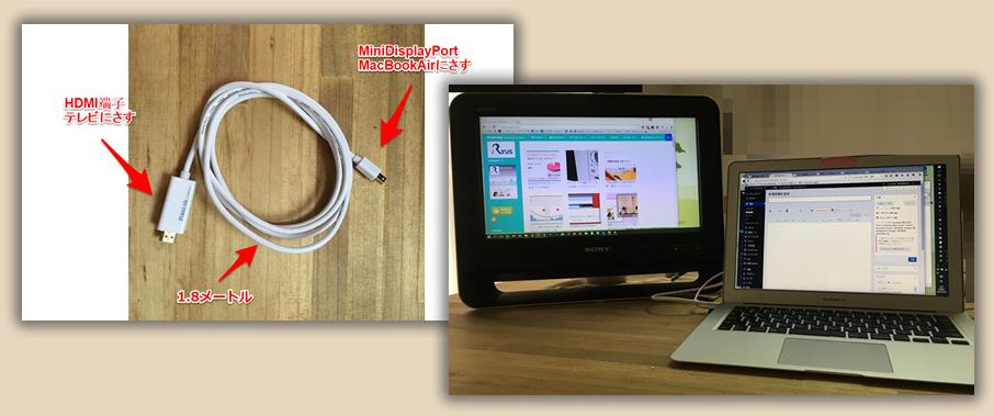 MacBookAirとテレビをつなぐケーブルでサブディスプレイ化!トリプル画面も♪