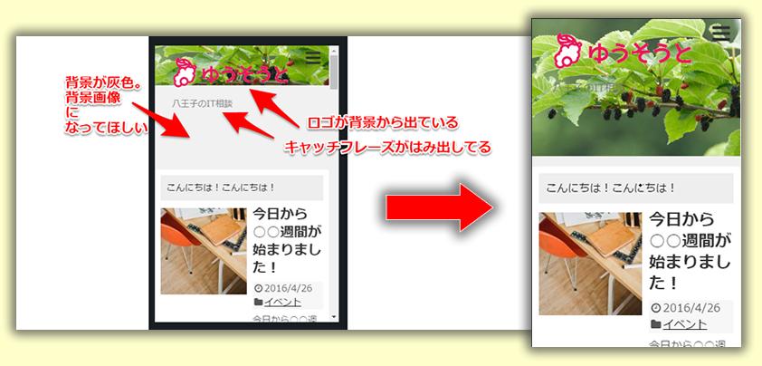 テーマSimplicityで幅を縮めたときにロゴ画像やキャッチフレーズがはみ出さないようにする設定